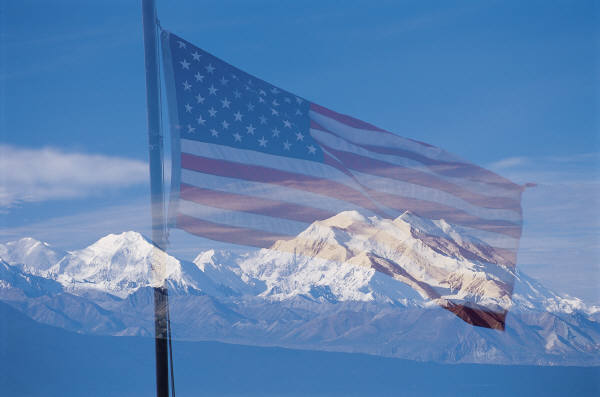 Mt Hood and flag