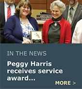 Peggy Harris receives Harold Haynes Award for years of service.