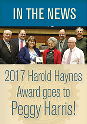 Harold Haynes Award goes to Peggy Harris.