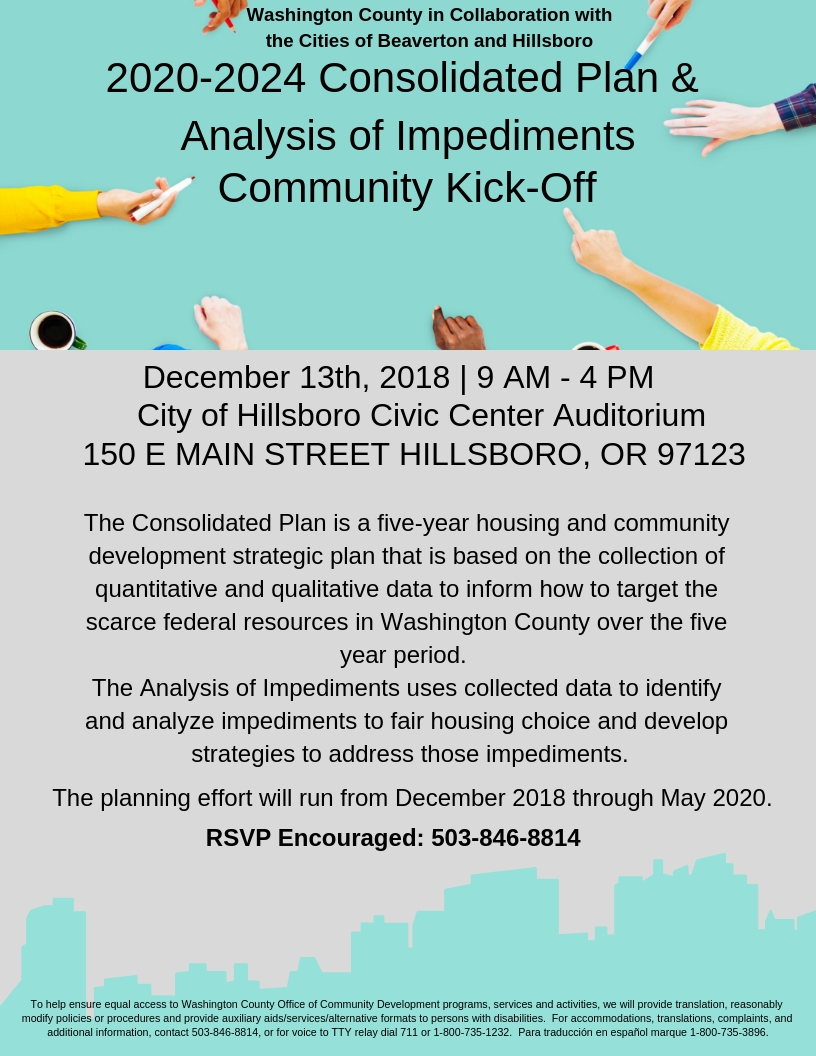 2020-2024 Consolidate Plan and Analysis of Impediments Community Kick-Off