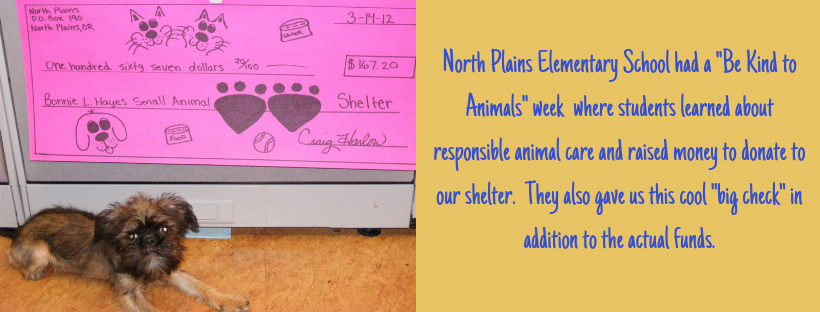North Plains Elementary School Raised Money for the Animal Shelter