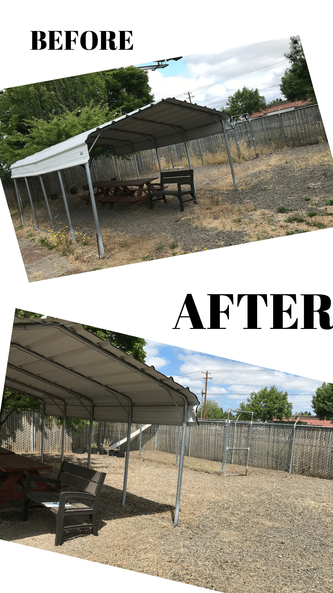 Two images showing the animal shelter backyard before weeds were pulled and after