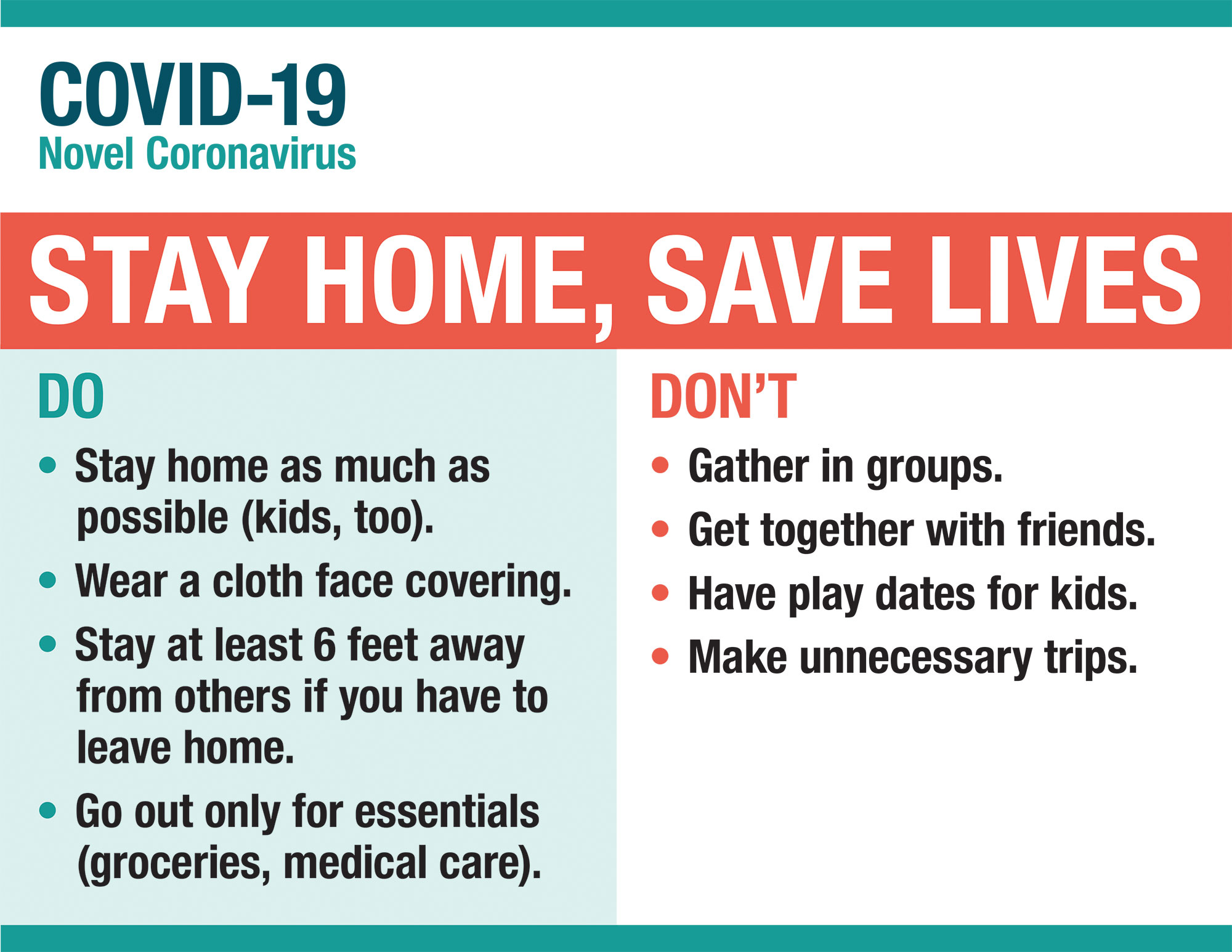COVID-19 Stay Home, Save Lives poster
