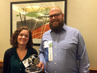 Washington County staff Sanne Stienstra and Brian Stafki proudly pose with the award.