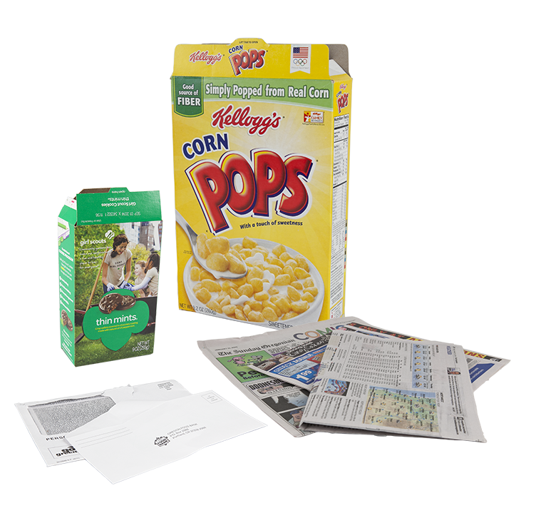 cereal box and newspaper