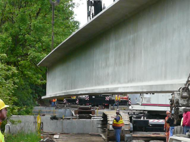 River Road Bridge Beam Being Lowered Into Place