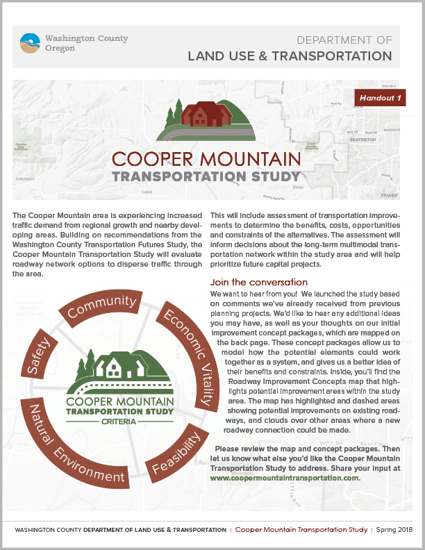 Cooper Mountain Transportation Study Handout 1