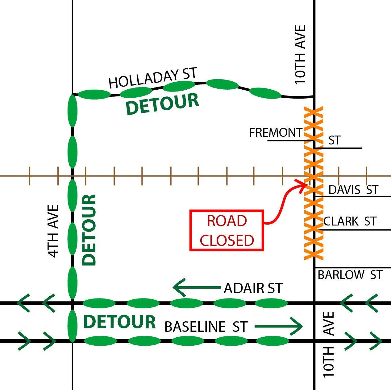 10th Avenue detour map
