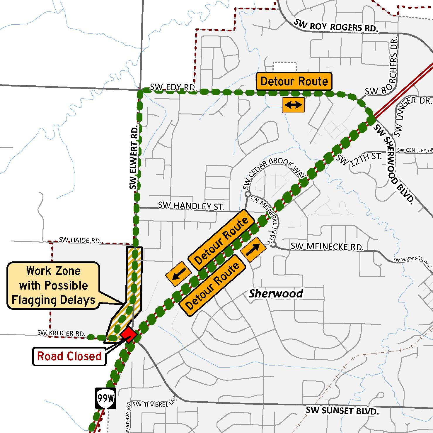 Elwert and Kruger roads detour map phase 3