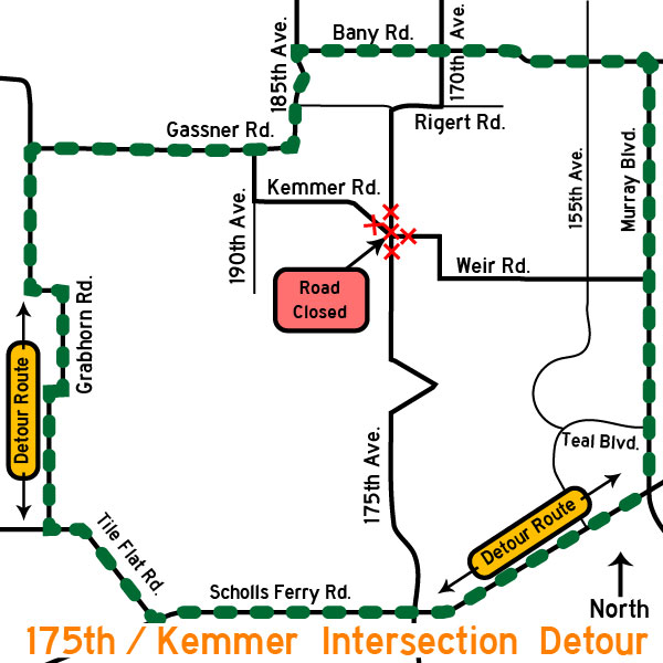 175th Avenue/Kemmer Road detour