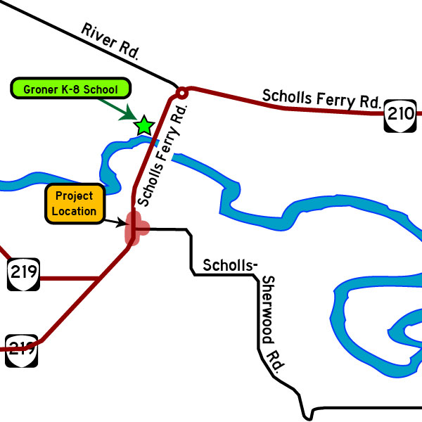 Scholls Ferry and Scholls-Sherwood roads intersection map