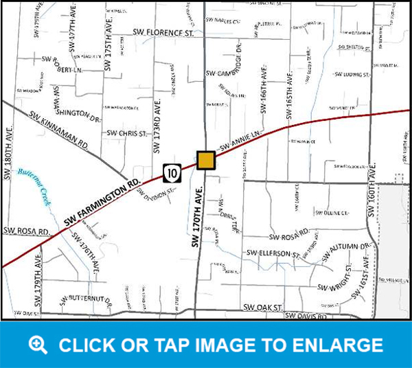 170th Avenue and Farmington Road Intersection map