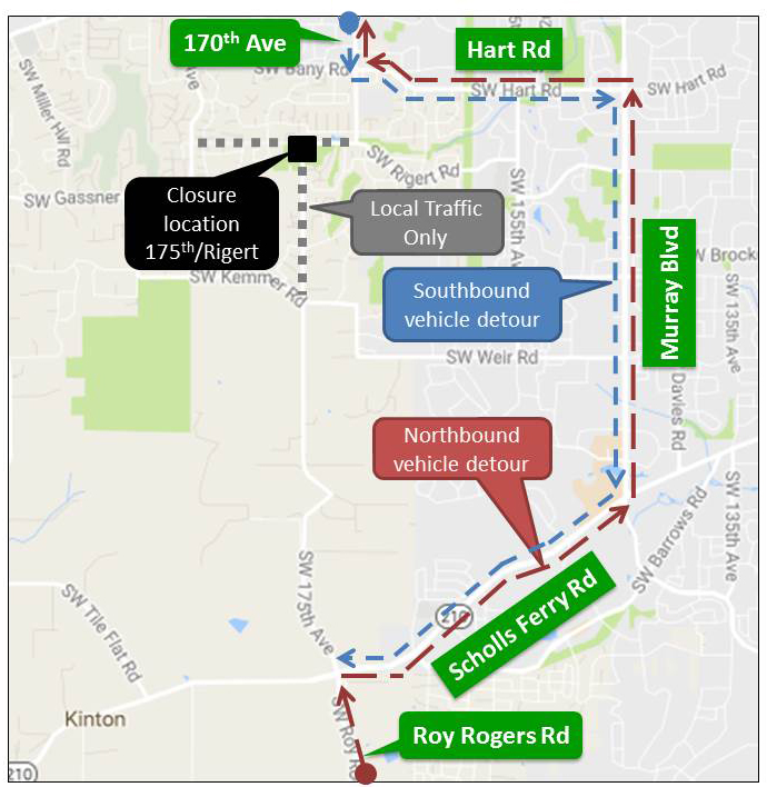 175th Avenue at Rigert Road detour map