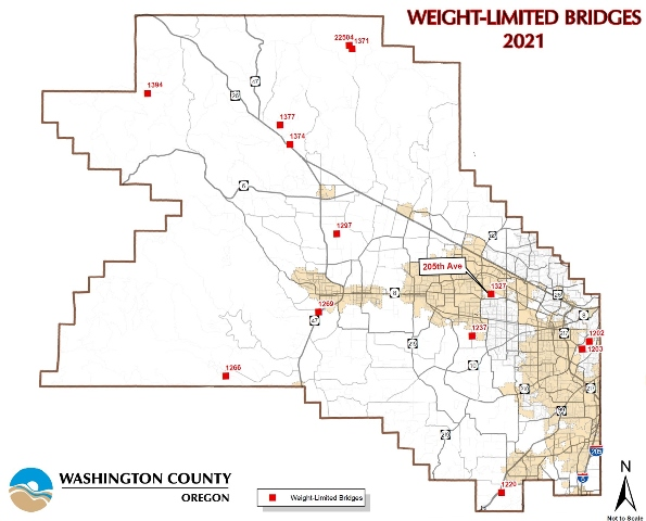Map of county weight-restricted bridges, highlighting 205th Avenue