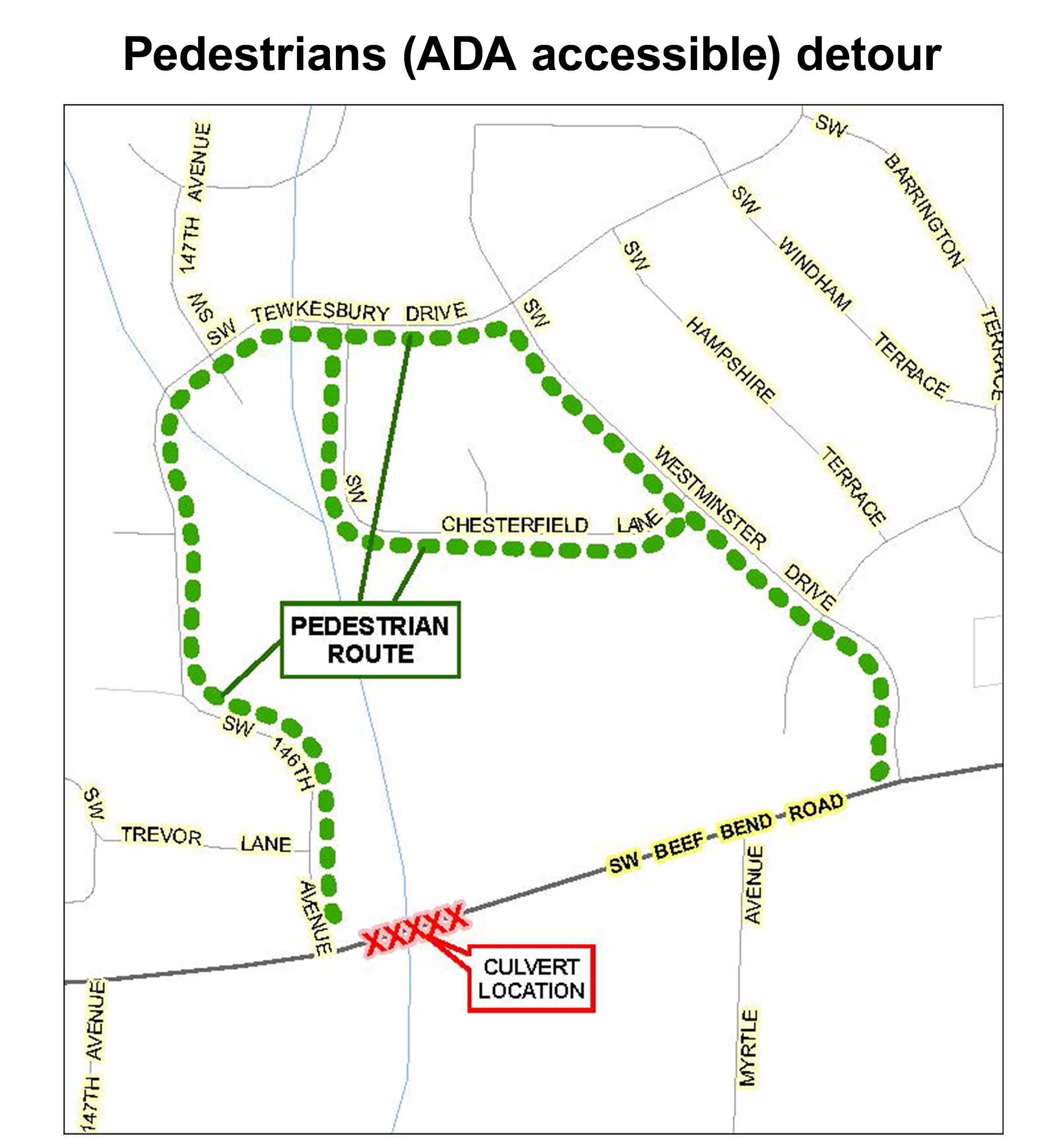 Pedestrians (ADA accessible) detour