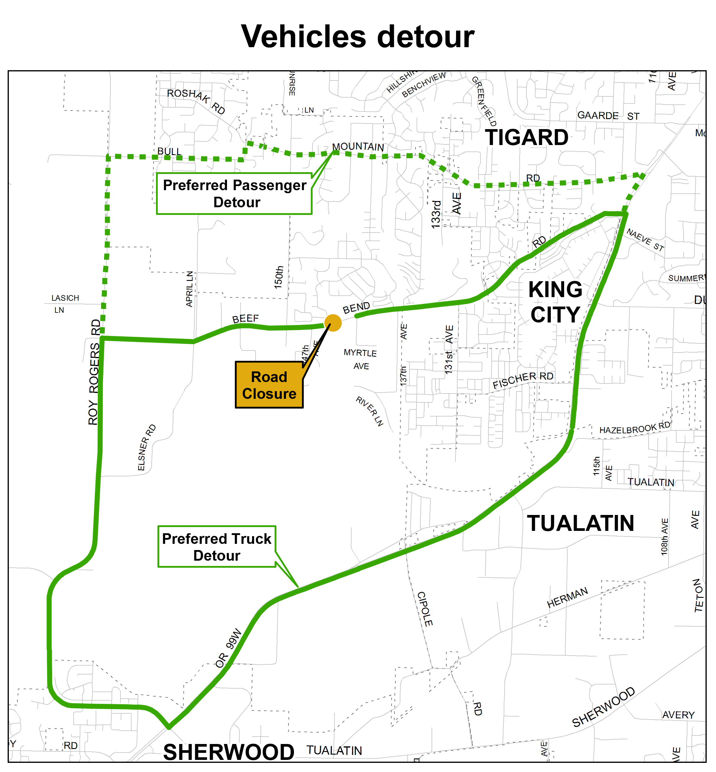 Vehicles detour map