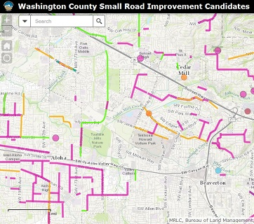 Small road improvement candidate map