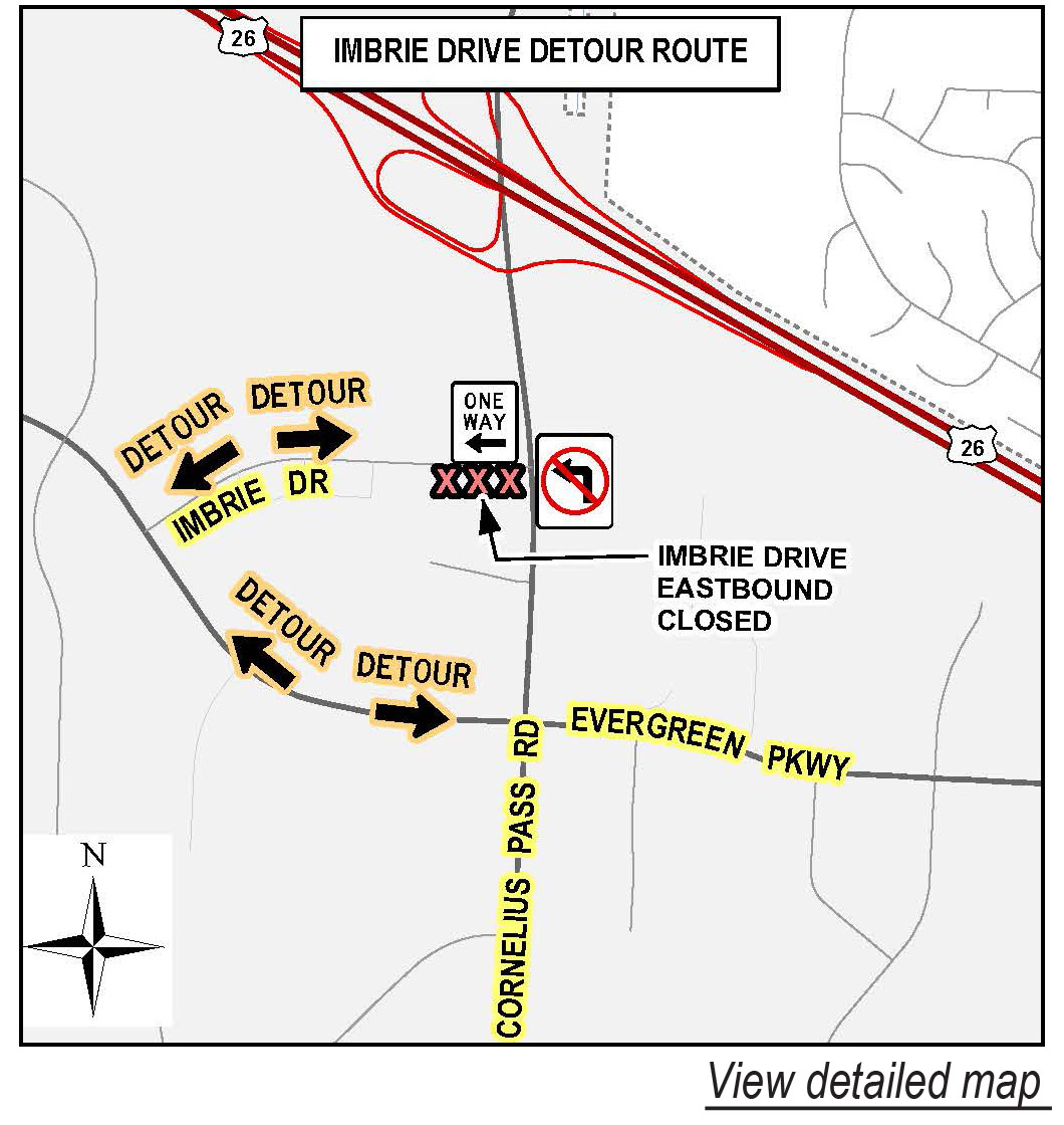 Construction Impacts On Imbrie Drive Cornelius Pass Expected June - I drive us closure map