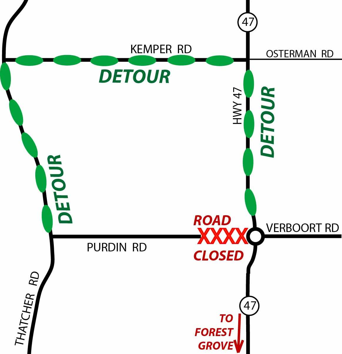 Purdin Road closure August 2016