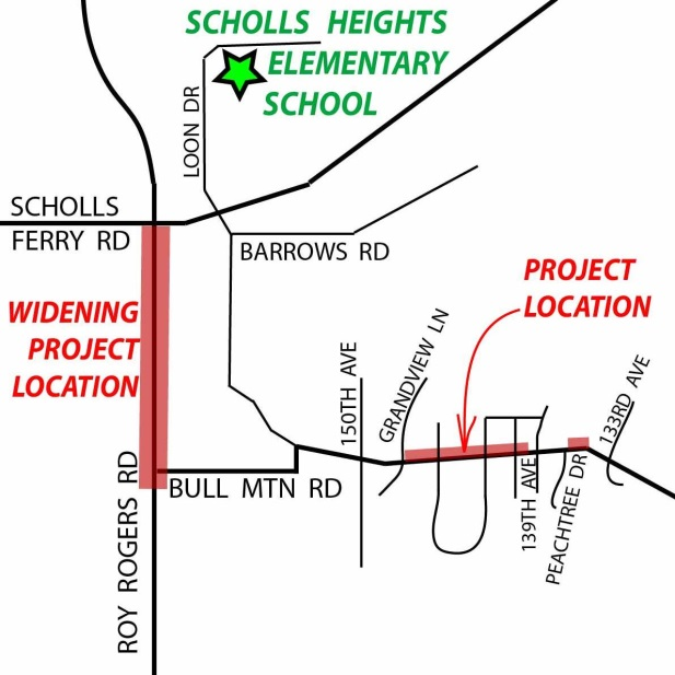 Map: open house for two projects on Roy Rogers and Bull Mountain roads will be from June 8, 2016, at Scholls Heights Elementary School, 16400 SW Loon Drive.