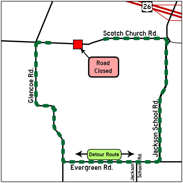 Scotch Church Road detour map