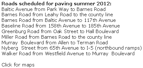 Summer paving list 2012