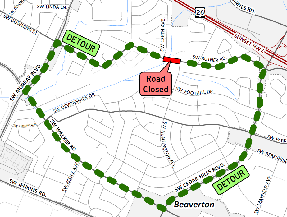 Butner Road Culvert detour map