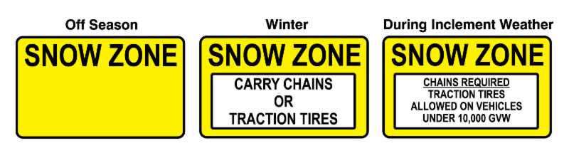 snow zone signs