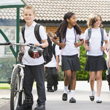 School kids walking and biking