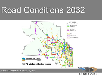 The Map On The Right Shows Projected Conditions In 20 Years Without Added Funding Note The Increase In Red Purple And Black More Roads