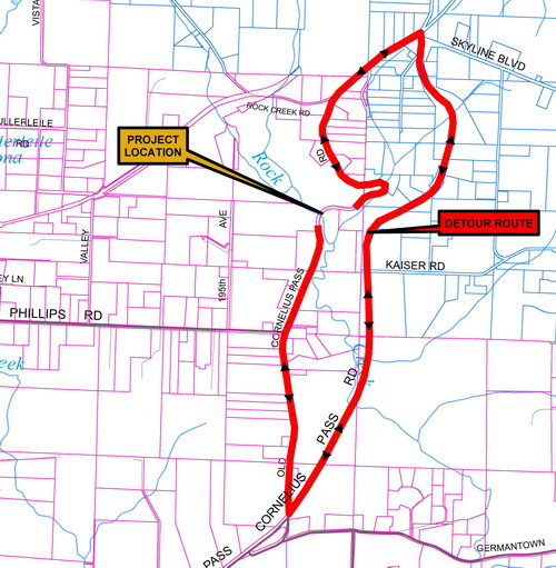 Detour Map for Old Cornelius Pass Road Closure July 9 - September 21