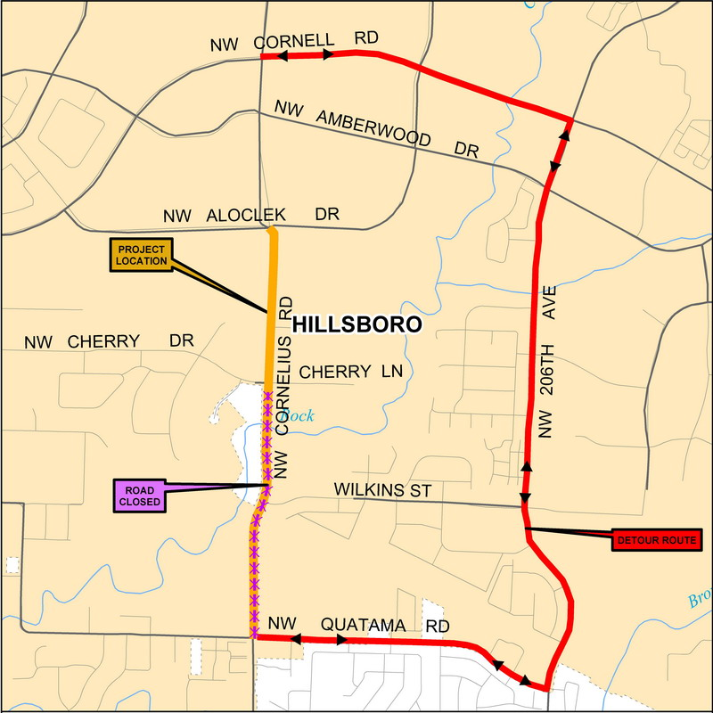 Cornelius Pass Detour Map