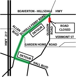 Oleson Road at Fanno Creek detour map