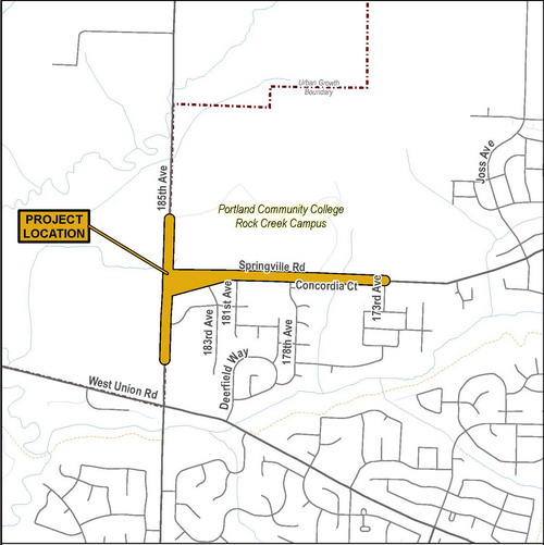 Springville Road Project Vicinity map