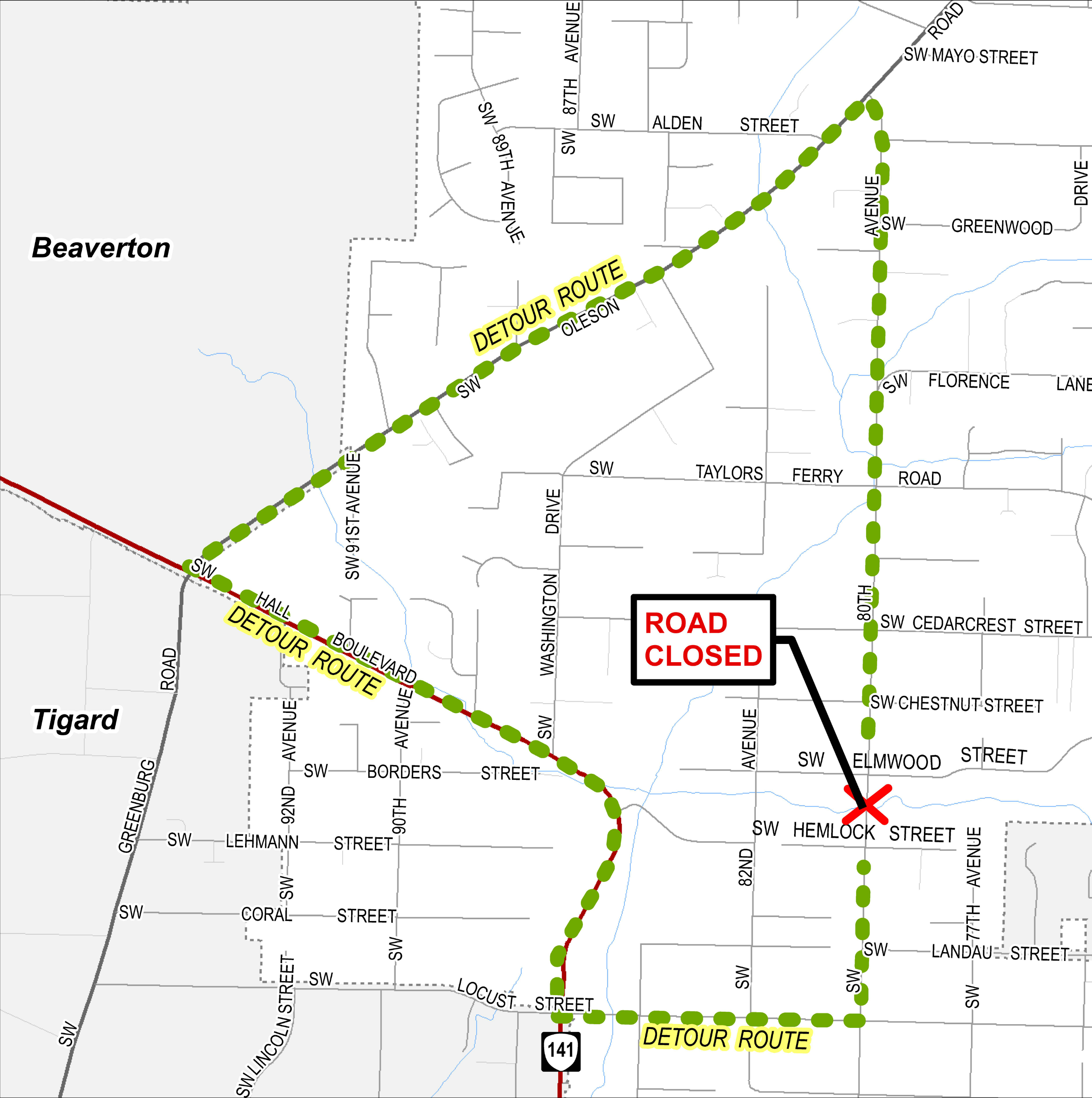 80th Avenue detour map