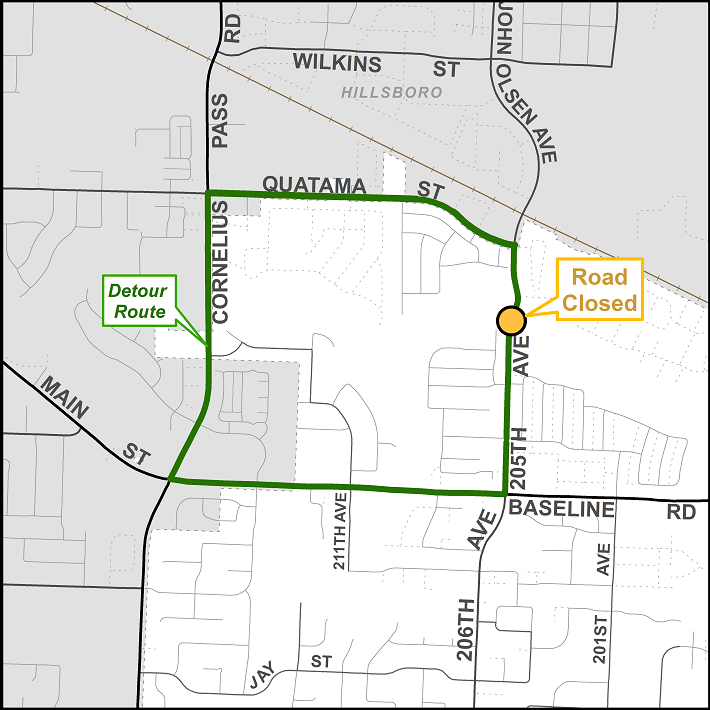 205th Avenue road closure detour map