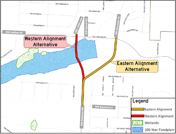 Saltzman Road alignments map