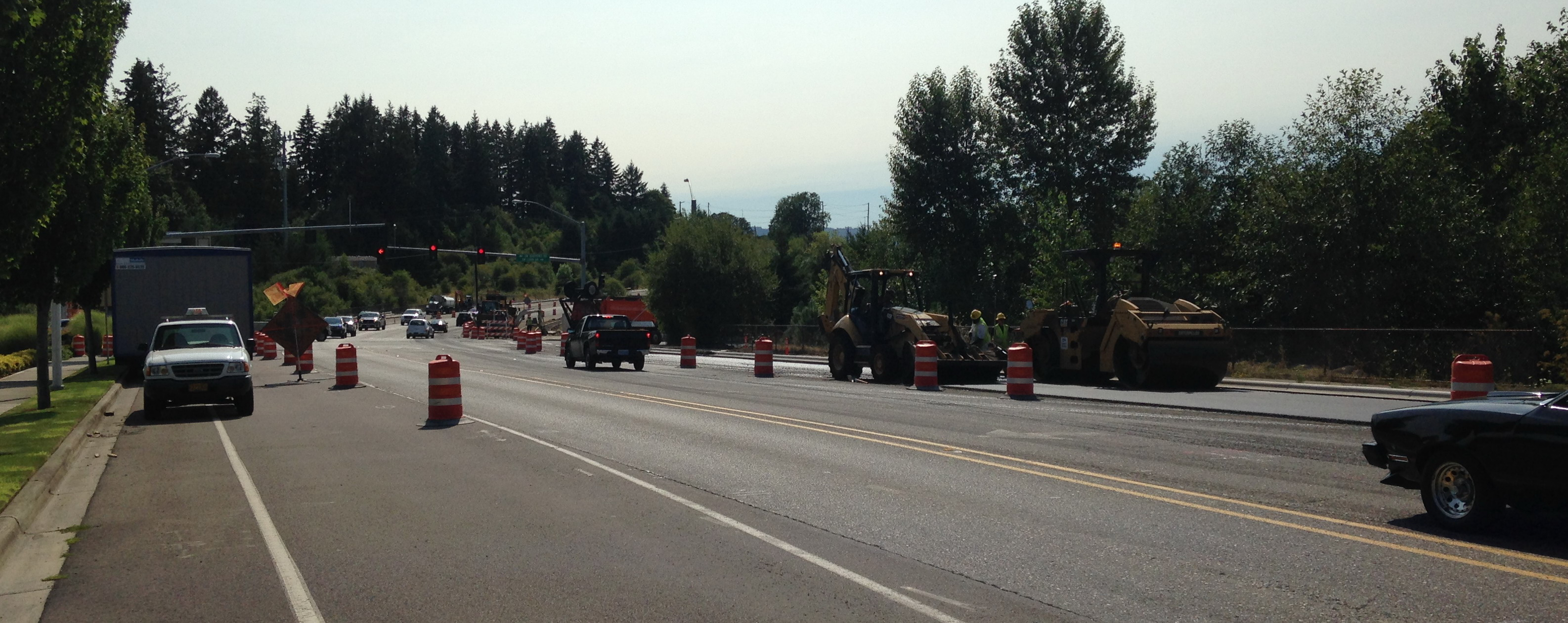Scholls Ferry Road construction Aug 2014