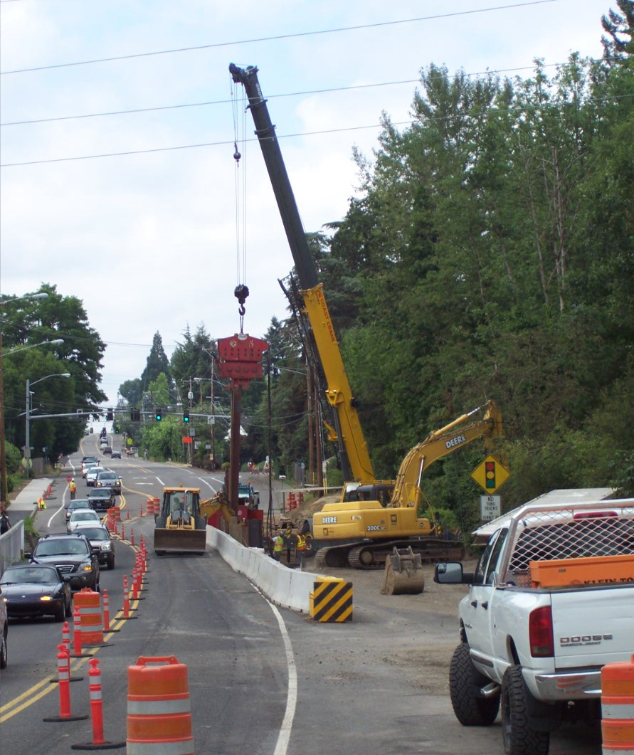 Scholls Ferry Road bridge construction