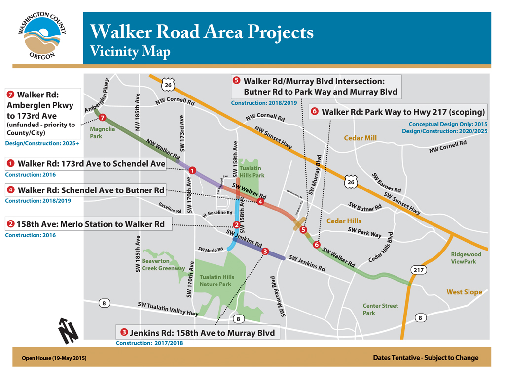 Walker area projects vicinity map (as of May 2015)