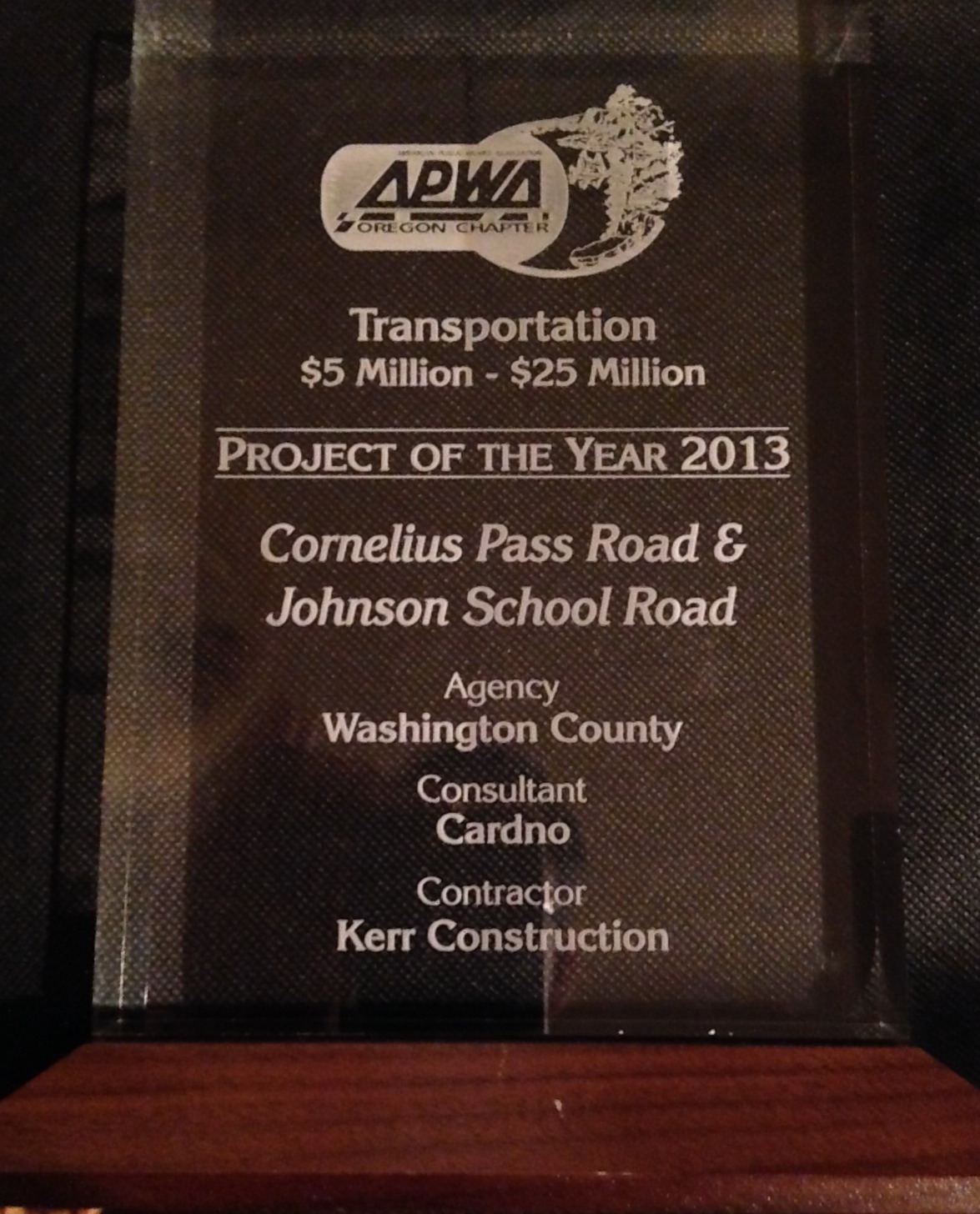 APWA Project of the Year plaque - Corn Pass-Johnson School