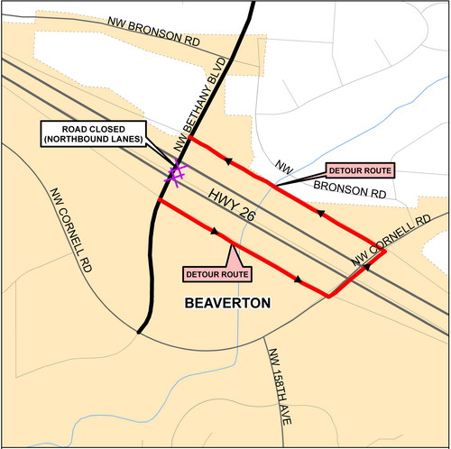Bethany Detour Map 8-13-13 northbound daytime lane closures