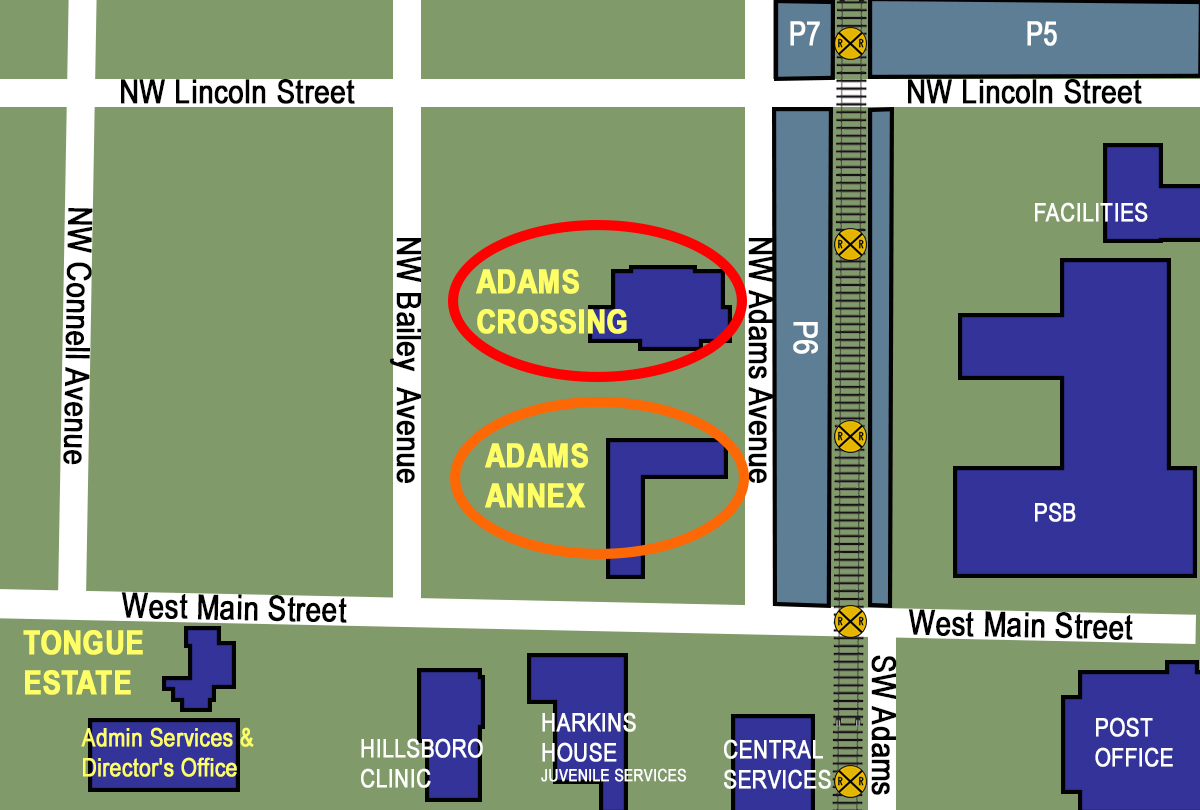 Relocation map, Adams Crossing and Adams Annex