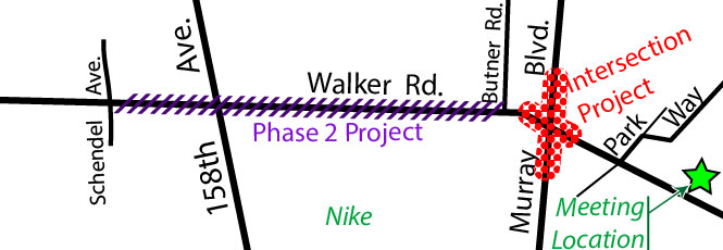 Two Walker Road projects vicinity map