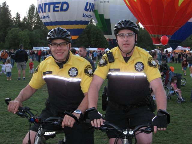 Deputies Curry and Cage on bicycle patrol