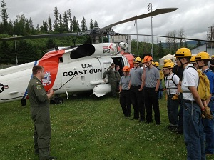 Explorers receive helicopter hoist training from the US Coast Guard