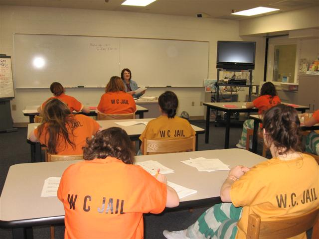 Inmates in Jail Programs classroom