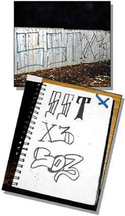 Collage of gang graffiti