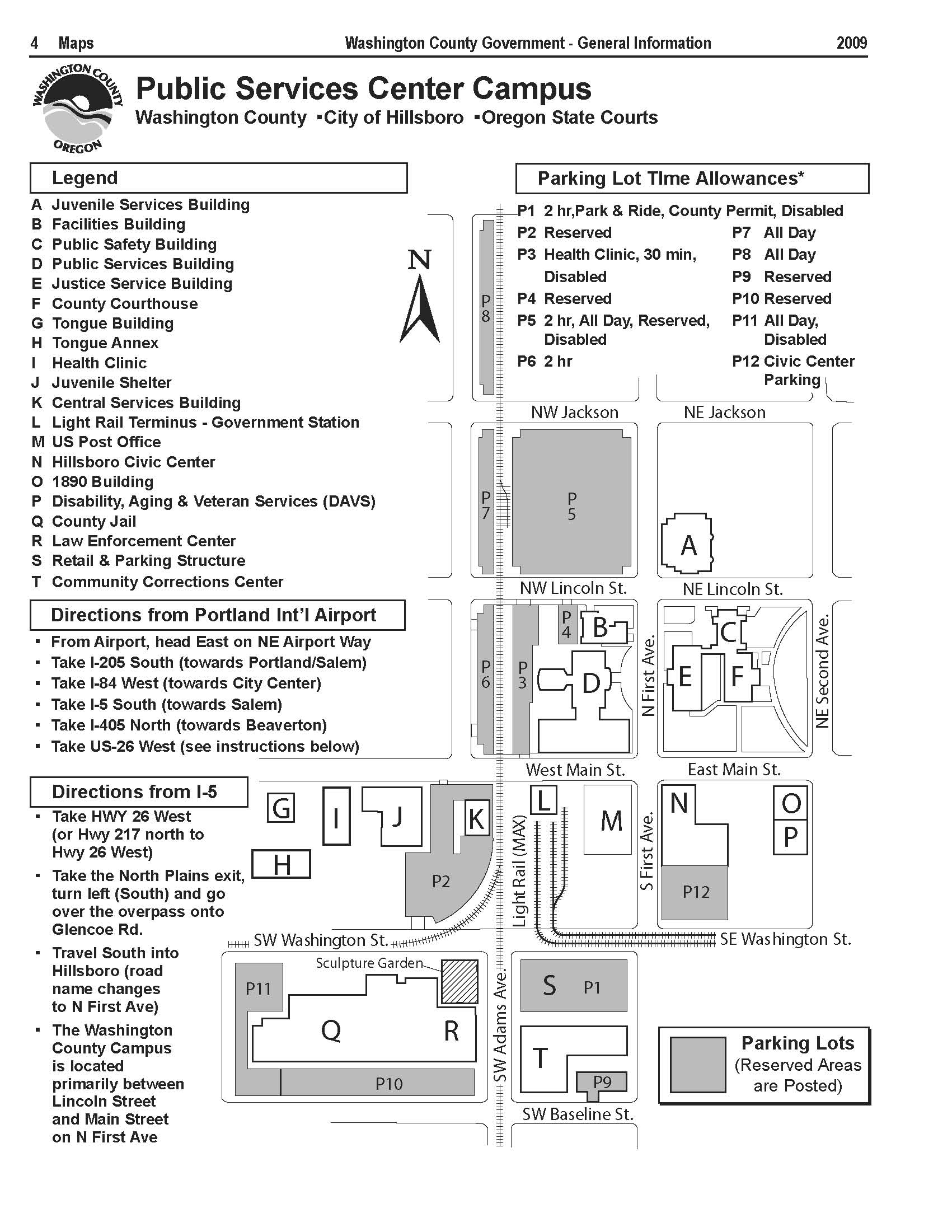 Washington County Campus Map, downtown Hillsboro, Oregon