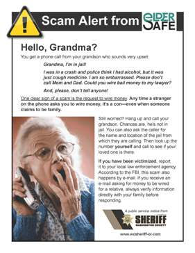 Senior Wire Money Scam Flyer - CLICK TO OPEN